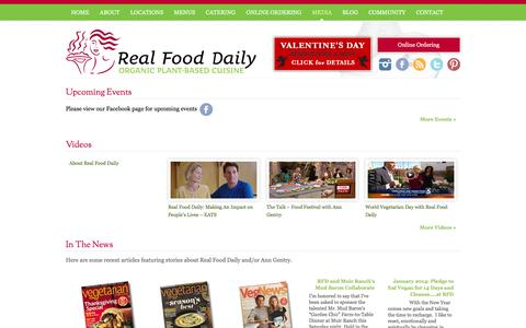 Screenshot of Press Page realfood.com - Media & Events   Real Food Daily - captured Feb. 1, 2016