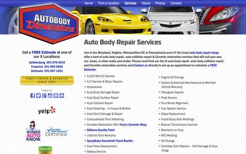 Screenshot of Services Page autobodydimensions.com - Auto Body Repair Services - Autobody Dimensions - captured Sept. 30, 2014