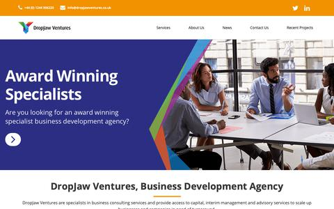 Screenshot of Home Page dropjawventures.co.uk - Business Development Agency | Business Consulting | DropJaw Ventures - captured Oct. 9, 2018