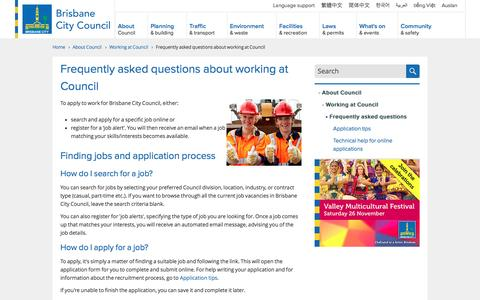 Screenshot of FAQ Page brisbane.qld.gov.au - Frequently asked questions about working at Council   Brisbane City Council - captured Nov. 23, 2016