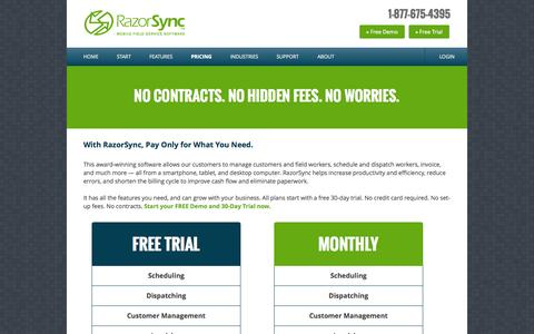 Screenshot of Pricing Page razorsync.com - Low-Cost Field Service Management Software | RazorSync Business Solutions - captured Oct. 10, 2014