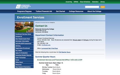 Screenshot of Hours Page edcc.edu - Edmonds Community College: Enrollment Services - Contact Us - captured Sept. 19, 2014