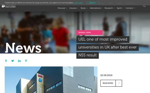 Screenshot of Press Page uel.ac.uk - News - UEL - University of East London - captured Aug. 28, 2016