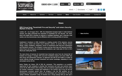 Screenshot of Press Page scotshield.com - News | Scotshield Fire & Security - captured Oct. 4, 2014