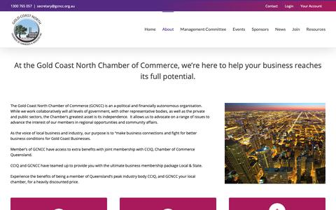 Screenshot of About Page gcncc.org.au - About – Gold Coast North Chamber of Commerce and Industry In - captured Sept. 29, 2018