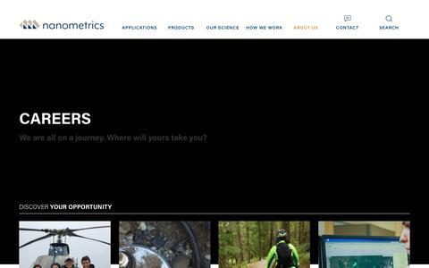 Screenshot of Jobs Page nanometrics.ca - Careers    Nanometrics - captured Oct. 20, 2018