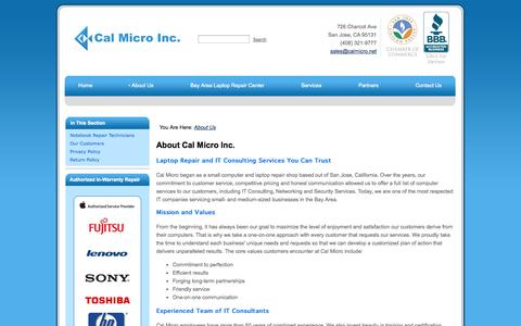 Screenshot of About Page calmicro.net - Bay Area Laptop Repair and IT Services - About Cal Micro - captured Oct. 1, 2014