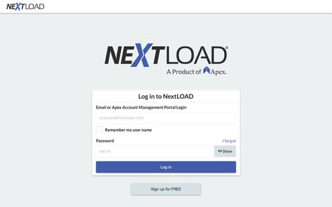 Screenshot of Privacy Page Contact Page Login Page Terms Page nextload.com - NextLOAD | A Load Board for Truckers - captured July 8, 2018
