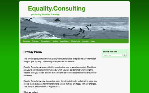 Screenshot of Privacy Page equalitytraining.com - Privacy Policy - Equality.Consulting - captured July 14, 2016