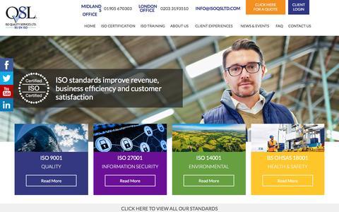 Screenshot of Home Page isoqsltd.com - ISO Certification Kept Simple   ISO Quality Services Ltd - captured Nov. 17, 2016