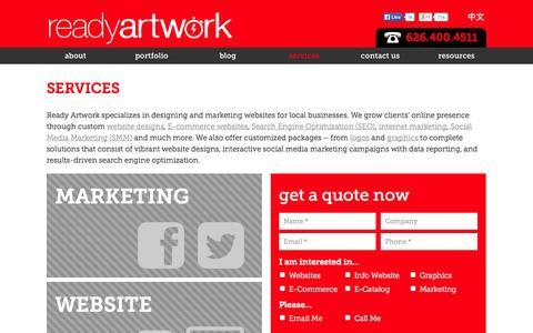 Screenshot of Services Page readyartwork.com - Magento Services Alhambra | Ready Artwork Design Social Media - captured Sept. 24, 2014