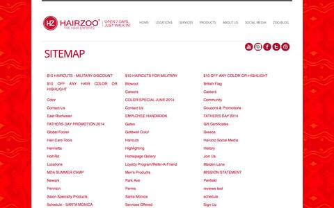 Screenshot of Site Map Page hairzoo.com - Sitemap - Hairzoo - captured Sept. 27, 2014