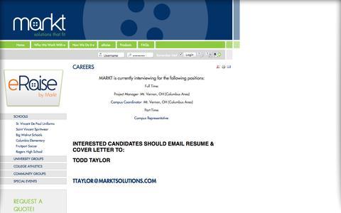 Screenshot of Jobs Page marktsolutions.com - Careers | Markt Solutions - captured Feb. 12, 2016