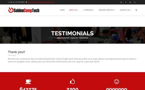 Screenshot of Testimonials Page sabinocomptech.com - Testimonials - SabinoCompTech - captured July 26, 2018