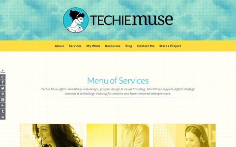 Screenshot of Services Page techiemuse.com - Menu of Services | Techie Muse - captured Aug. 23, 2016