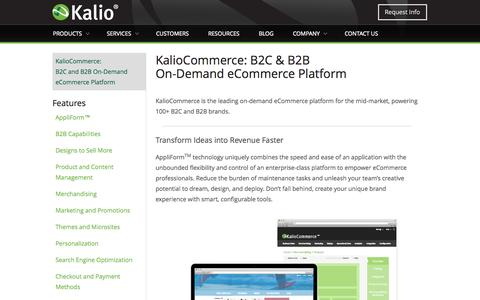 Screenshot of Products Page kaliocommerce.com - Kalio On-Demand Enterprise eCommerce Platform | Kalio - captured Sept. 19, 2014