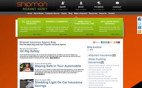 Screenshot of Blog shipmaninsurance.com - Shipman Insurance Agency Blog - captured Oct. 9, 2014