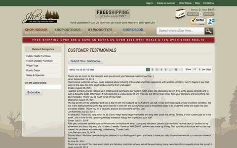 Screenshot of Testimonials Page logfurnitureplace.com - Testimonial - captured Sept. 22, 2014