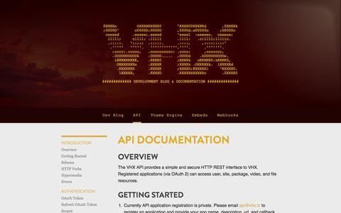 Screenshot of Developers Page vhx.tv - VHX API Documentation - captured Sept. 17, 2014