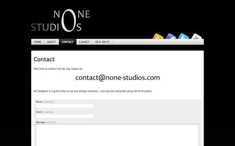 Screenshot of Contact Page none-studios.com - Contact   None Studios - captured Aug. 17, 2016