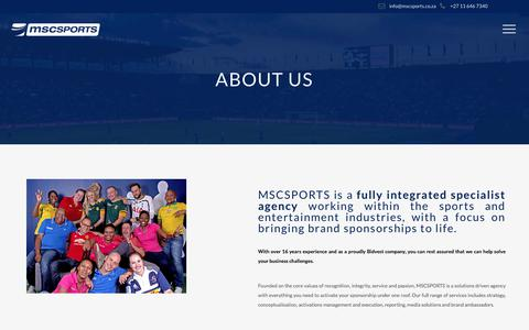 Screenshot of About Page mscsports.co.za - Integrated specialist marketing agency | MSCSPORTS - captured Oct. 4, 2017