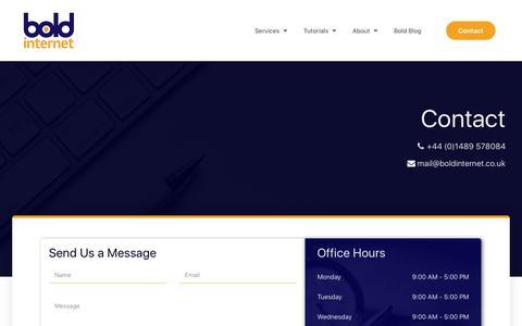 Screenshot of Contact Page boldinternet.co.uk - Contact | Bold Internet - captured Sept. 24, 2018