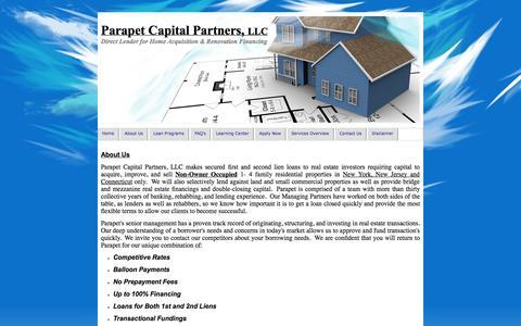 Screenshot of About Page parapetcapital.com - Hard Money Direct Lenders Parapet Capital, NJ NY CT - captured Oct. 1, 2014