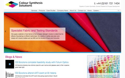 Screenshot of Home Page coloursynthesissolutions.co.uk - Colour Synthesis Solutions - Experts in Custom Synthesis, Contract Research & Process Development - captured May 3, 2016