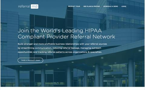 Screenshot of Home Page getreferralmd.com - referralMD | World's Leading Physician Referral Network - captured Sept. 17, 2014
