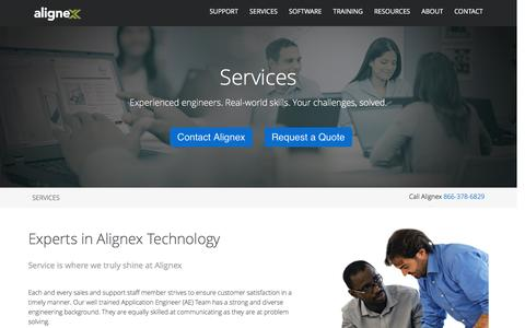 Screenshot of Services Page alignex.com - Services - captured Feb. 5, 2016