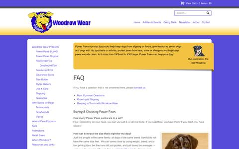 Screenshot of FAQ Page woodrowwear.com - FAQ – Power Paws Non-Skid Socks for Dogs by Woodrow Wear | Woodrow Wear - captured Oct. 26, 2014