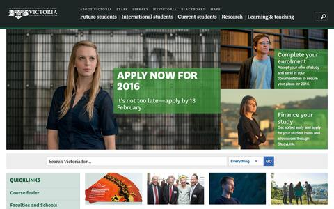 Screenshot of Home Page victoria.ac.nz - Home | Victoria University of Wellington - captured Feb. 16, 2016
