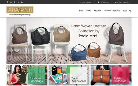 Screenshot of Home Page attavanti.com - Luxury Italian Leather Handbags, Briefcases, Travel Bags and Accessories | Attavanti - captured Oct. 9, 2017