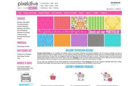 Screenshot of Home Page pixeldivadesigns.com - Boutique Web Design, Custom Ecommerce Design, Boutique SEO and Premade Websites - captured Sept. 19, 2014