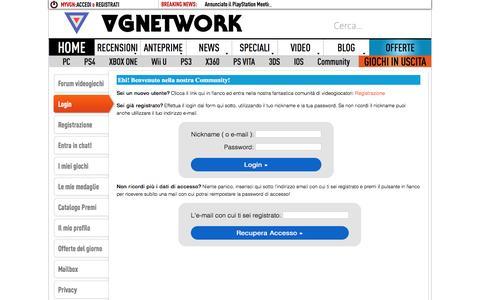 Screenshot of Login Page vgnetwork.it - Login Forum | VGNetwork.it - captured Aug. 12, 2016