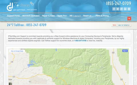 Screenshot of Contact Page dtechway.com - Contact Tollfree (1855-247-0709) Technical Support for Microsoft Windows and Apple Support : dTechWay.com - captured Sept. 30, 2014