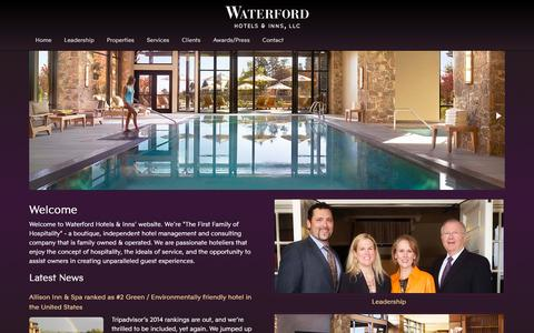 Screenshot of Home Page waterfordhi.com - Hotel Management Company | Waterford Hotels and Inns - captured Jan. 26, 2015