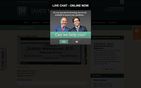 Screenshot of Maps & Directions Page jamesnewmanlaw.com - Directions | James Newman, P.C. | Personal Injury, Medical Malpractice & Construction Accident Law Firm - captured Oct. 16, 2017