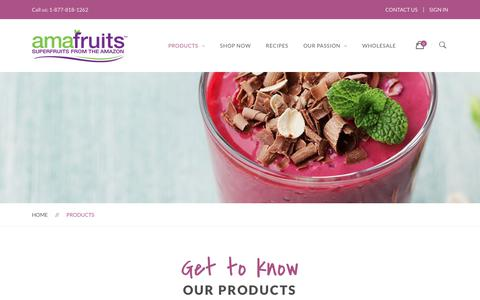 Screenshot of Products Page amafruits.com - Products | Amafruits - captured July 29, 2018