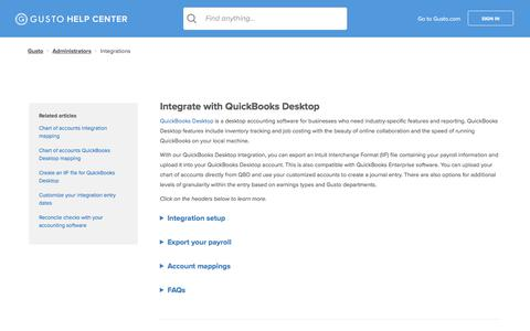 Screenshot of Support Page gusto.com - Integrate with QuickBooks Desktop – Gusto - captured Oct. 26, 2017