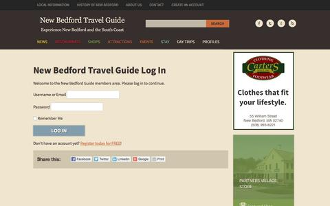 Screenshot of Login Page nbtravelguide.com - New Bedford Travel Guide Log In | New Bedford Travel Guide - captured Nov. 29, 2016