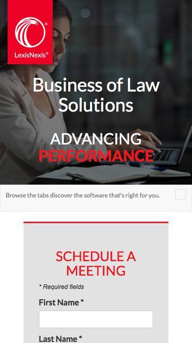 Screenshot of Landing Page  lexisnexis.com - LexisNexis at LegalTech NYC