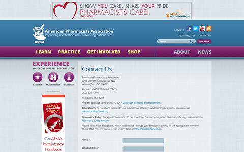 Screenshot of Contact Page pharmacist.com - Contact Us | American Pharmacists Association - captured Sept. 23, 2014