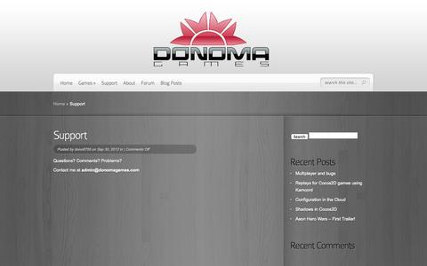 Screenshot of Support Page donomagames.com - Support | Donoma Games - captured Oct. 5, 2014