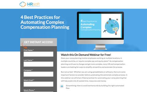Screenshot of Landing Page hrsoft.com - 4 Best Practices for Automating Complex Comp Planning - captured Sept. 6, 2016