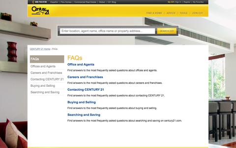 Screenshot of FAQ Page century21.com - FAQs - captured Oct. 10, 2014