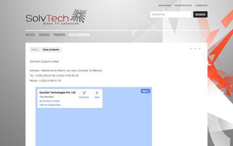 Screenshot of Contact Page solvtech.net - Nous contacter - captured Oct. 26, 2014