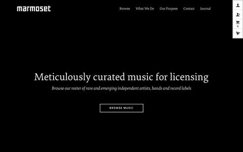 Screenshot of Home Page marmosetmusic.com - Marmoset // Meticulously Curated Music for Licensing - captured June 1, 2018