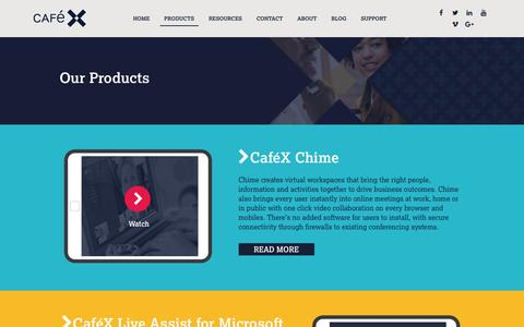 Screenshot of Products Page cafex.com - WebRTC Video Conferencing, Live Coaching & Co-Browse in Apps, CafeX - captured May 9, 2017