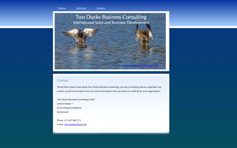Screenshot of Contact Page 2ducks.net - Two Ducks Business Consulting GmbH, learn more about our way of working and expertise and john quak - captured Feb. 28, 2016
